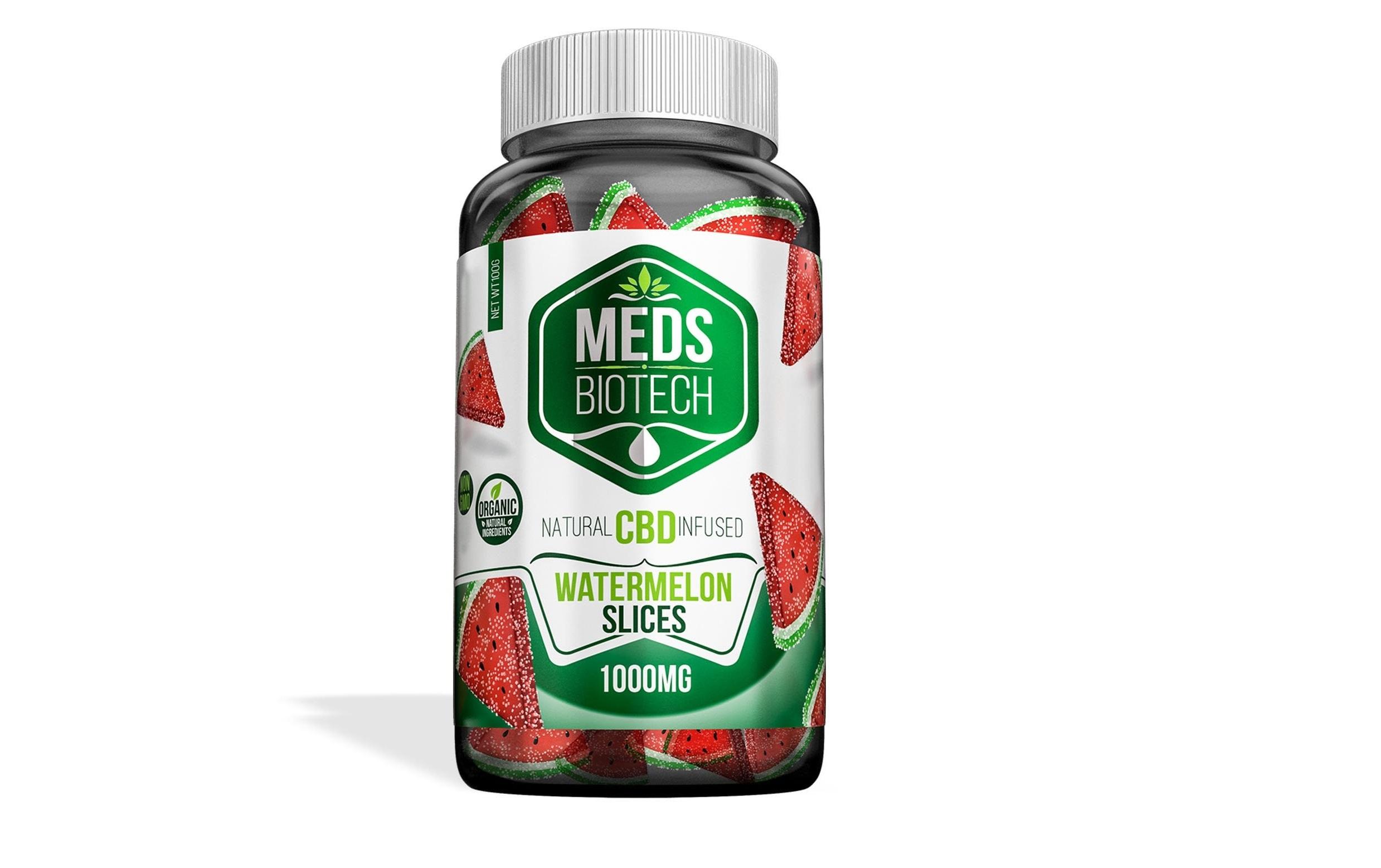 Meds Biotech Gummies - CBD Infused Watermelon Slices